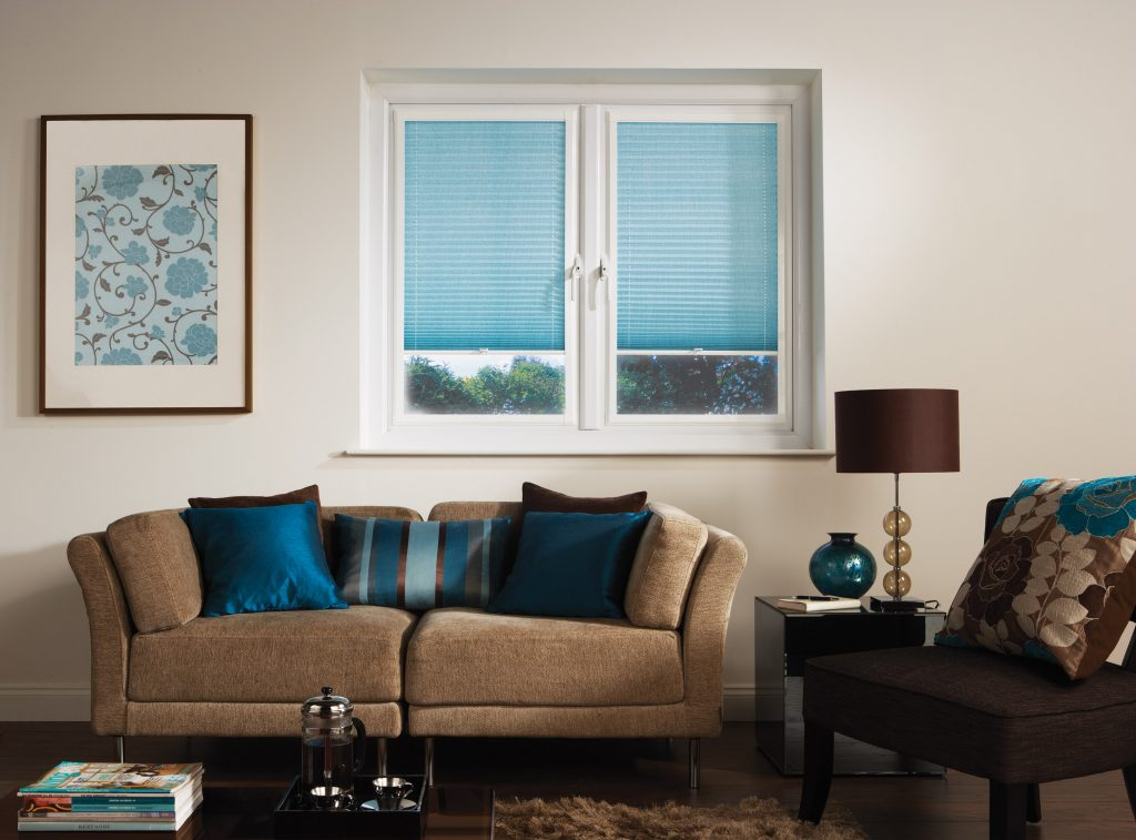 Blue Blackout Pleated Blinds