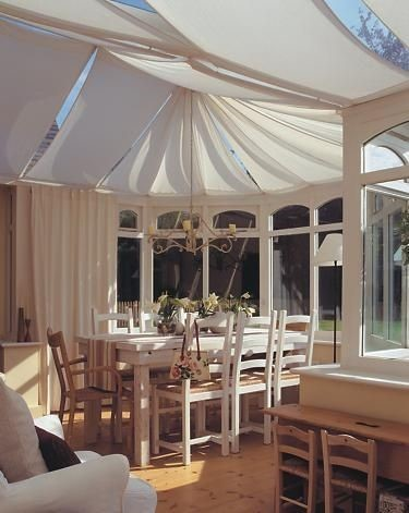 drapes in a conservatory