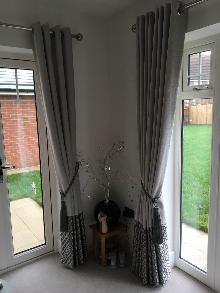 Full length curtains with tie backs