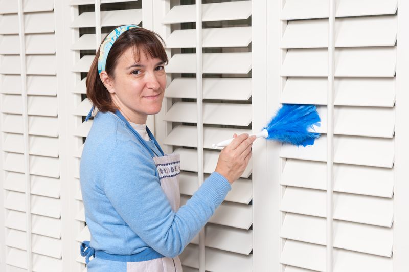 Maid dusting and cleaning shutters